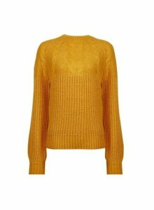 Womens Yellow Cable Jumper, Yellow