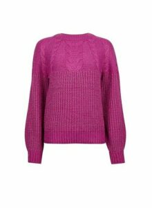 Womens Mulberry Cable Jumper- Pink, Pink