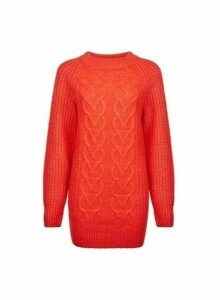 Womens Red Crew Neck Cable Jumper- Red, Red