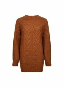 Womens Tobacco Crew Neck Cable Jumper- Tabacco, Tabacco