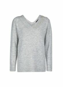 Womens Grey Embellished V-Neck Jumper, Grey