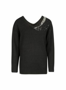 Womens Black Embellished V-Neck Jumper, Black