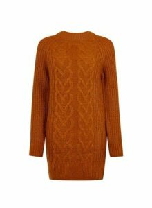 Womens **Tall Tobacco Cable Jumper- Brown, Brown