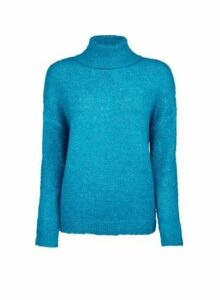 Womens Petite Blue Spandex Roll Neck Jumper, Blue