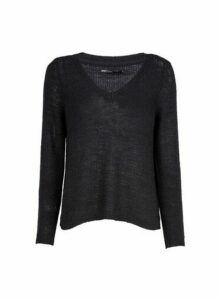 Womens **Only Black V-Neck Jumper, Black