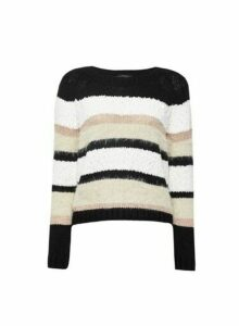Womens Only Black Stripe Jumper, Black