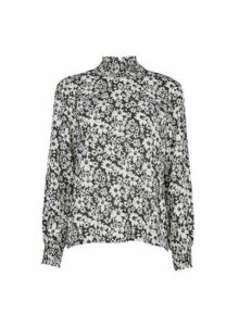 Womens **Only Black Floral Print Blouse, Black