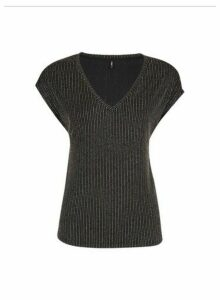 Womens Only Black Stripe Print V-Neck Top, Black
