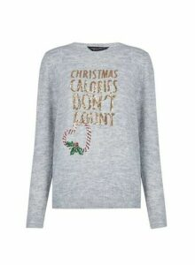 Womens Grey Christmas Calories Dont Count Jumper, Grey