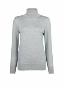 Womens Silver Roll Neck Jumper, Silver