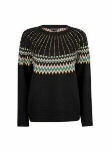 Womens Black Fairisle Christmas Jumper, Black