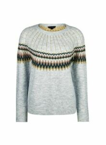 Womens Grey Fairisle Jumper- Grey, Grey