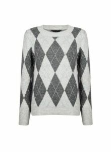 Womens Grey Argyle Jumper, Grey