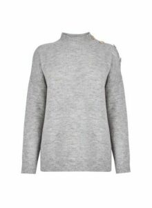 Womens Grey Button Shoulder High Neck Jumper, Grey