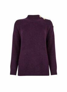 Womens Purple Button Shoulder Jumper, Purple