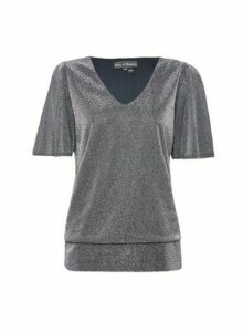 Womens Billie & Blossom Silver V-Neck Batwing Top, Silver
