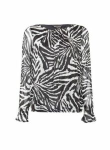 Womens **Billie & Blossom Multi Colour Zebra Print Long Sleeve Blouse- Silver, Silver