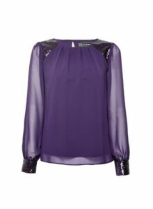 Womens **Billie & Blossom Purple Sequin Long Sleeve Top, Purple