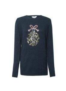 Womens **Tall Navy Embellished Christmas Jumper- Blue, Blue