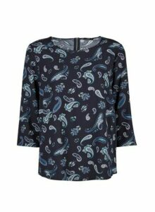 Womens **Only Navy Paisley Print 3/4 Sleeve Blouse- Blue, Blue