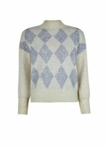 Womens **Only Cream Diamond Print Knitted Jumper, Cream