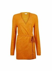 Womens Vila Yellow Bleted Knit Cardigan - Orange, Orange