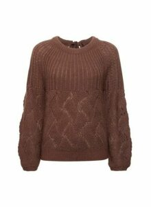 Womens **Vila Brown Balloon Sleeve Bow Kniited Jumper, Brown