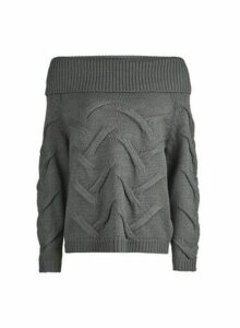 Womens **Vila Grey Bardot Knitted Jumper- Grey, Grey