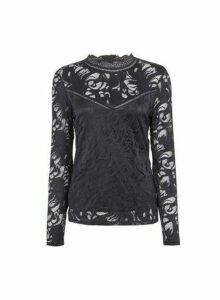 Womens Vila Black High Neck Lace Top, Black