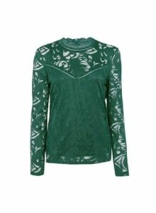 Womens **Vila Green High Neck Lace Top, Green