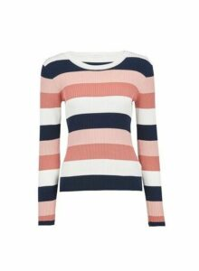 Womens **Vila Multi Colour Stripe Print Knitted Jumper, Multi Colour