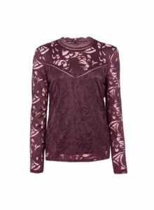 Womens **Vila Wine High Neck Lace Top- Red, Red