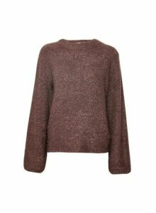 Womens **Vila Brown Knitted Funnel Neck Jumper, Brown