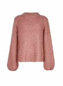 Womens **Vila Pink Knitted Funnel Neck Jumper, Pink