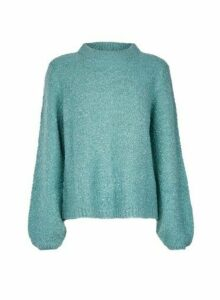 Womens **Vila Blue Knitted Funnel Neck Jumper, Blue