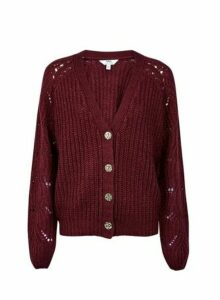 Womens **Tall Purple Stitch Lofty Cardigan- Red, Red