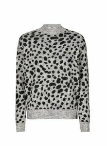 Womens Petite Multi Colour Leopard Print Chunky Spandex Jumper, Leopard