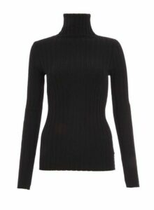 Womens *Quiz Black Ribbed High Neck Knitted Top, Black