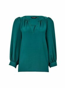 Womens Green Balloon Sleeve Top, Green