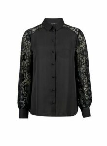 Womens Black Lace Front Shirt, Black