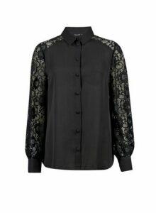 Womens Black Lace Front Shirt- Black, Black