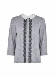 Womens Grey Lace Trim 2-In-1 Top, Grey