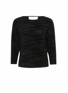 Womens Black Lurex Batwing Top- Black, Black