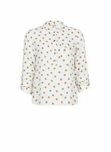 Womens Petite Camel Spot Print Roll Sleeve Shirt- White, White