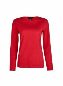 Womens Red Long Sleeve Crew Neck Cotton T-Shirt, Red