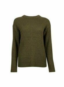 Womens Khaki Ribbed Stitch Chunky Jumper- Green, Green