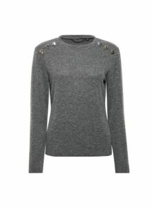 Womens Charcoal Button Detail Brushed Crew Neck Jumper- Grey, Grey