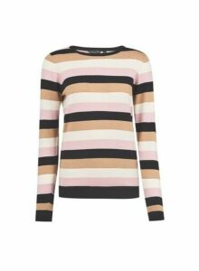 Womens Multi Stripe Fine Knit Jumper- Multi Colour, Multi Colour
