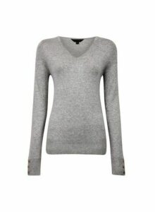 Womens Grey V-Neck Button Cuff Jumper, Grey