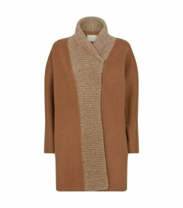 Wool-Mohair Knitted-Trim Cardigan